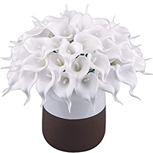 BOMAROLAN Calla Lily Real Touch Bridal Wedding Bouquet Lataexs for Bride Artificial Flowers Birthday Party Home Décor Pack of 24 (White)