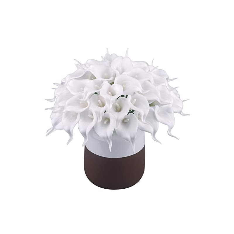 silk flower arrangements bomarolan calla lily real touch bridal wedding bouquet lataexs for bride artificial flowers birthday party home décor pack of 24 (white)