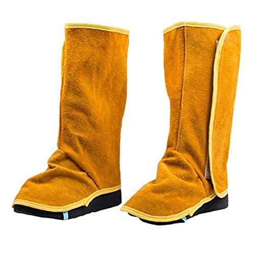 Jorzer Soldadura Polainas De Cuero De Vaca De Altas Prestaciones Cubiertas De Cuero De Zapatos Con Los Zapatos Extended Legging Ignífugo Soldadura Spats 1pair De Seguridad