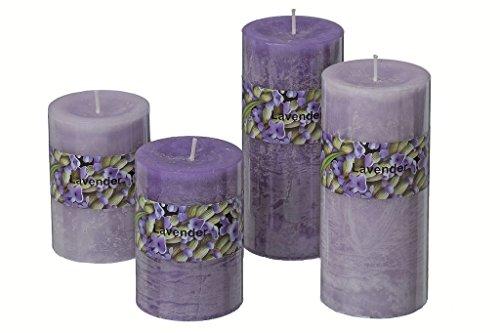 Bella-Vita Dapo 2 x hochwertige Kerzen Dream 1 Docht Farbe dunkellila Höhe 15cm Wachskerze Stumpenkerze