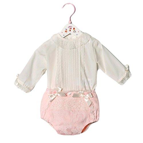 DOLCE PETIT - Conjunto Blusa Y Braga bebé-niños Color: Rosa Talla: 1M