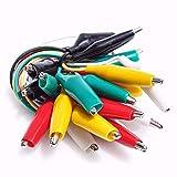 KAIWEETS ワニ口クリップ テストリードセット はんだ と スタンプ ジャンパ ワイヤ 回路 接続|実験用 21インチ 5色セット(黒・白・赤・黄・緑/各2本)(10ピース) 【滑り止め&強力】強力なスプリングと強固な接続を備えたニッケルメッキ鋼製のアリゲータークリップは、回路接続/電気テストに最適で、いろんなデジタルマルチメーターに適しています( マルチメーター、マルチメータープローブで動作するはずです)