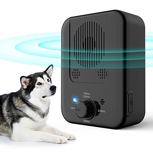 Anti Bell Gerät für Hunde, 3 Frequenzstufen Antibell für Hunde,33Ft Wasserdichter Ultraschall Hunde Bell Abschreckung, Wiederaufladbare Anti-Bell-gerät Drinnen Draußen Hundetraining Antibell für Hunde