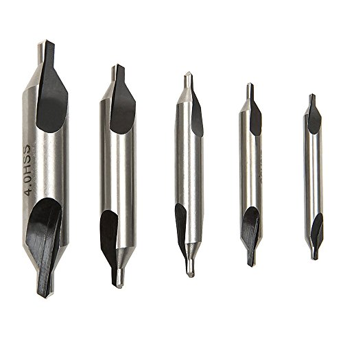 Malayas 5PCS HSS Lathe Mill Center Drill Countersink Bit Tooling Set 60 Degree Angle Countersink 1/8 3/16 1/4 5/16 5/32 Suitable for Positioning and Chamfering Processing