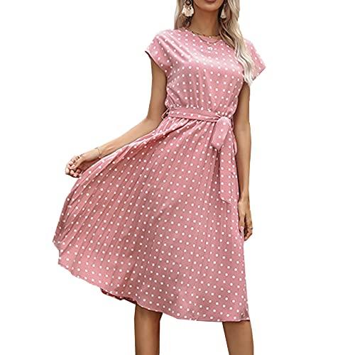 KeYIlowys Robe mi-Longue décontractée en Dentelle à imprimé à Pois pour Femmes, Robe d'été à Manches Courtes en Dentelle plissée pour Femmes