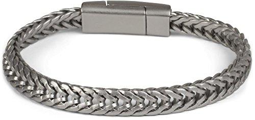 styleBREAKER platte gevlochten kettingen Armband met magnetische sluiting, ketting, sieraden, uniseks 05040131