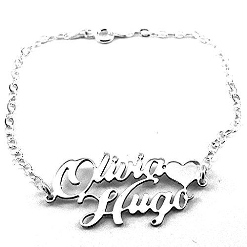 Bolboreta Valente Cadeau Dames verjaardag cadeau Bölbo® armband met twee namen gepersonaliseerd - zilver