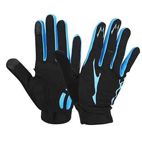 VGEBY Gants de Cyclisme, 1 Paire de Gants de Sport Unisexes Amortissement des Chocs Gants en Nylon Respirant à Doigts complets pour Le Cyclisme en Plein air(Noir et Bleu)