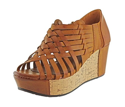 Pierre Dumas Women's Natural-1 Vegan Leather Criss Cross Strappy Wedge Platform Sandals,New Tan,7.5