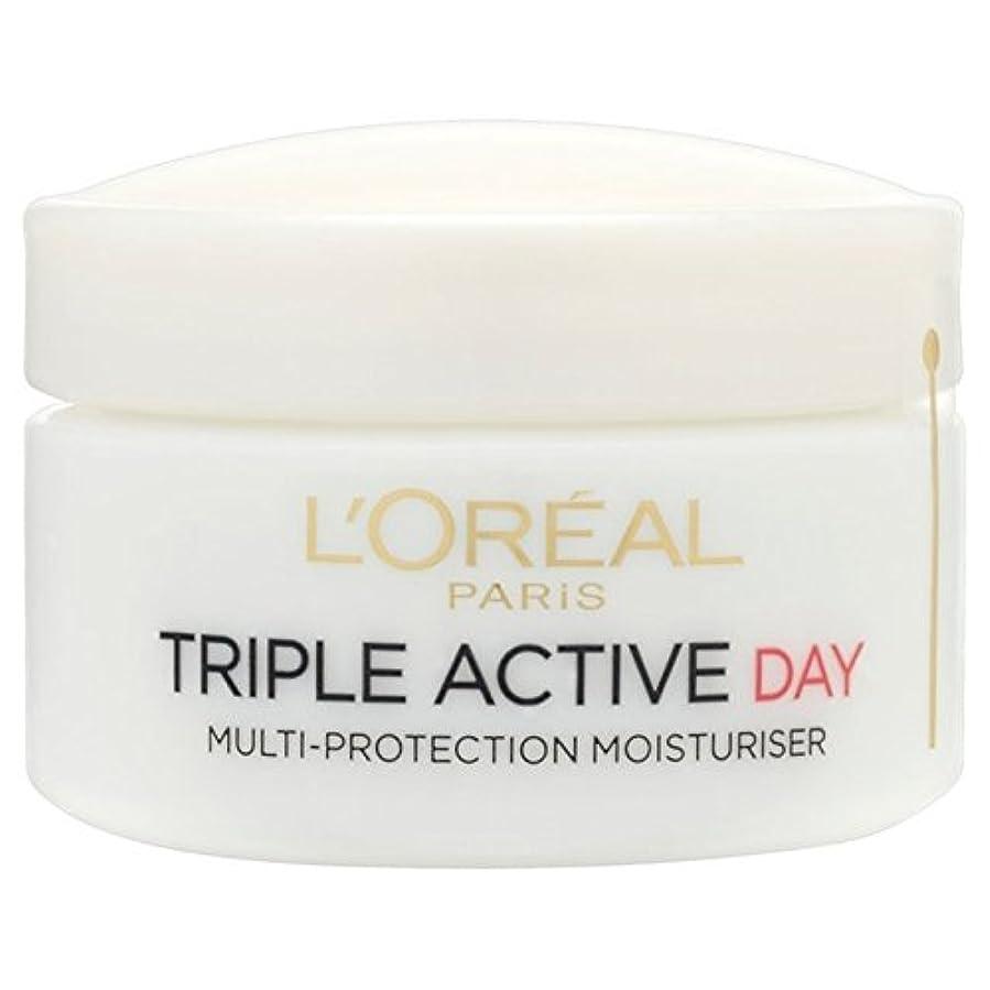 L'Oreal Triple Active Day Pot Dry/Sensitive 50ml (Pack of 6) - ロレアルトリプルアクティブな一日ポットドライ/敏感50ミリリットル x6 [並行輸入品]