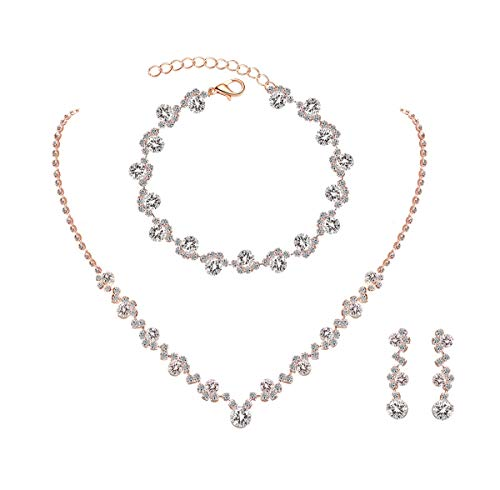 UDORA Crystal Rhinestone Necklace Earrings Bracelet Jewelry Set Wedding Prom (Rose Gold)