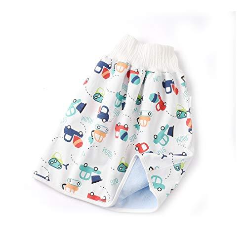 3 unidades 2 en 1 cómodo pañal para niños, falda corta, resistente al agua y pantalones cortos absorbentes (coche de ingeniería, 4-8 años, L)