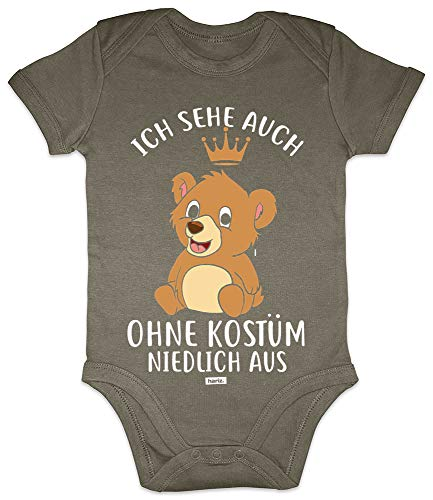 Hariz - Body de manga corta para bebé, diseño con texto en alemán 'Ich ve auch ohne Kostüm Niedlich aus Bär Carnaval Verkleidung Plus Geschenkkarten Olive Moos verde 3-6 meses