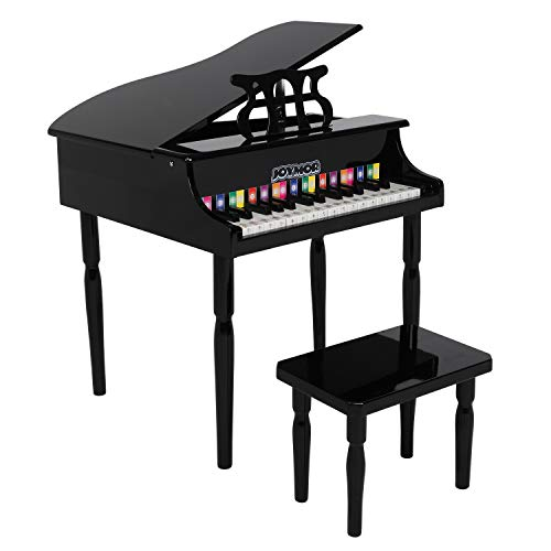 JOYMOR Classical Kids Piano, 30-Key Wood Toy Grand Piano for Toddles, Baby Piano Musical Instrument Toy w/ Bench, Music Stand and Song Book (White)