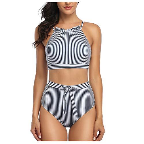 Gepolstertes Tankini Set TWIFER Damen Streifen Bikini Set High Waist Monokini Push Up Bademode(a-Marine,M)