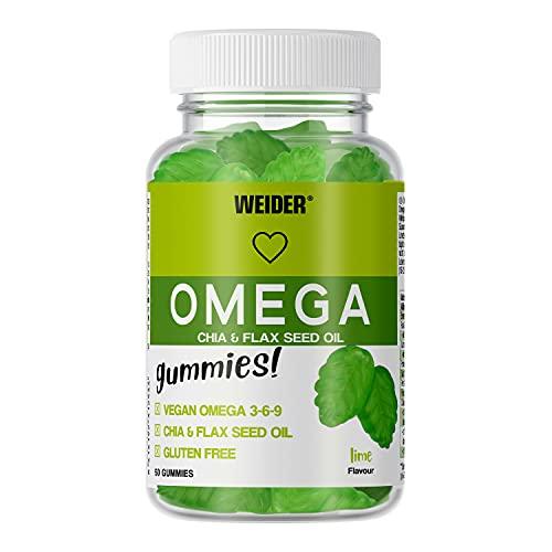 Weider Omega Gummies. Gominolas de Omega 3-6-9, 100% veganas. Sin Azúcares y Sin Gluten. 50 gummies. Sabor lima.