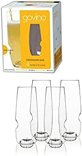 Govino 8 Ounce Dishwasher Safe Series Flute Glasses (4-Pack) by govino