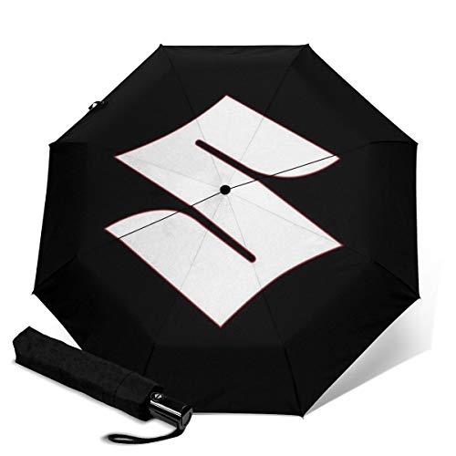 Suzuki Automatischer dreifach faltbarer Regenschirm Sonnenschutz Regenschirm wasserdicht Reise bedruckt tragbarer Regenschirm