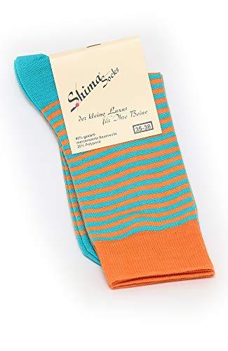 Shimasocks Herren Socken gasiert- mercerisiert, sehr edles Material bunt orange, beere, moos, Farben alle:orange/türkis, Größe:39/42