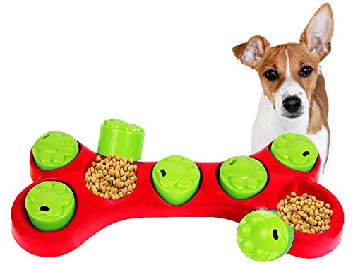Pet Toys Hide and Treat BONE PUZZLE Interactive Dog Toys for Boredom Treat and Train Bowl Dog Activity Toy Fun Game (Red)
