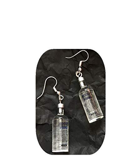 JHFF Ohrringe Mädchen - Vodka-Flasche Anhänger Baumeln Ohrringe Damen - Lustige Handgemachte Simulation Ohrstecker Schmuck