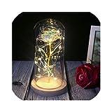 2020美しさと獣永遠のフラワーローズフラスコ結婚式の装飾人工花バレンタインデーギフト用のガラスカバー、金箔-明るい