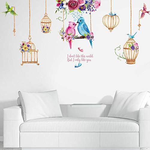 Pegatinas de pared de jaula de pájaro loro, sala de estar, dormitorio, habitación de niños, pegatinas de pared de jardín de infantes, pegatinas de vinilo extraíbles, decoración del hogar