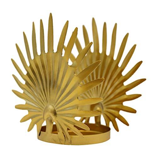 ABOOFAN 1piece Gouden Kandelaar Decor Scandinavische Stijl Bladvormige Kaars Voetstuk Ornament
