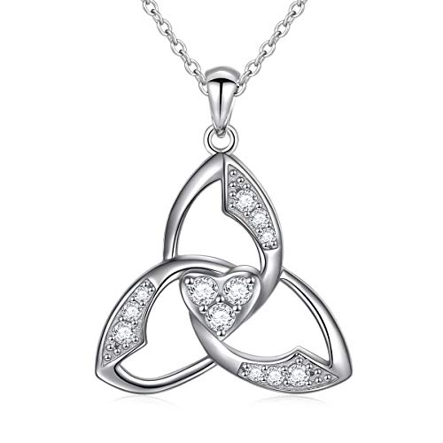 925 Sterling Silver Celtic Trinity Knot Pendant Necklace for Women Ladies Jewelry Gifts Birthday Anniversary