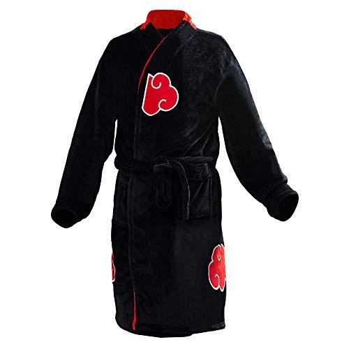 Luckyoiu Kinder Erwachsene Bademantel Akatsuki Uchiha Itachi Cosplay Bademantel Nachtwäsche Plüsch Robe Frauen Männer Red Cloud Icon Pyjamas