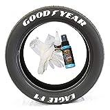 Tire Stickers Goodyear Eagle F1 - Kit de letras de goma permanente para neumáticos con pegamento y limpiador de retoque de 2 onzas, ruedas de 14 a 16 pulgadas, color blanco, 8 unidades