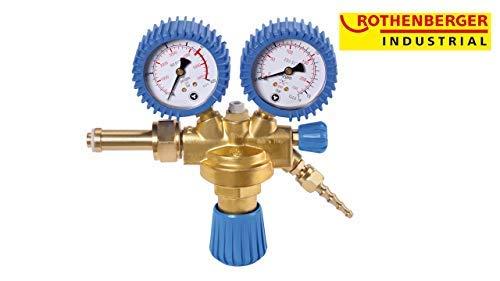 Rothenberger industriële zuurstof drukregelaar incl. vlamterugslagklep met 2 manometers voor zuurstof herbruikbare flessen 35634
