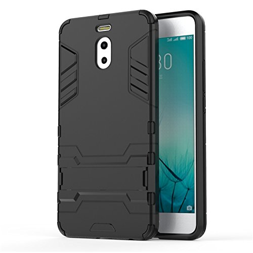 Bllosem Meizu M6 Note Cover Hybrid Dual Layer PC+TPU Completa Body Shock Armour Resistente con cavalletto Funzione Custodia per Meizu M6 Note Nero