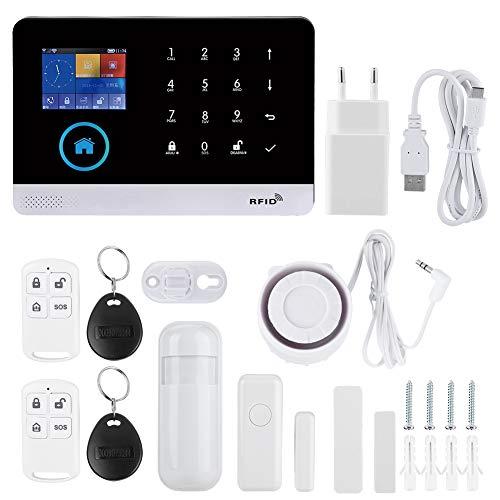 433MHz gsm + GPRS + WiFi Sistema de Alarma inalámbrico de Seguridad para el hogar y la Empresa, Kits de Bricolaje con Sistema de Seguridad Inteligente, Alarma de Video Inteligente(EU)