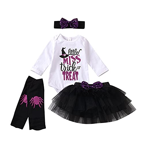 Pelele de Manga Larga con Estampado de Alfabeto para Bebé Niña Top Blanco Falda de Tutú de Halloween Diadema con Lazo Leggings...