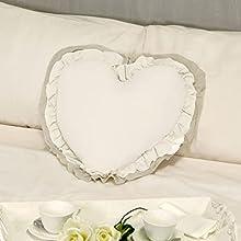 Cojín Decorativo en Forma de Corazón con Volantes, Almohada Decorativa, Funda de Cojín, Cojín con Relleno Romántico Rústico Shabby Chic - Volantes - 50x45 - Marfil/Beige