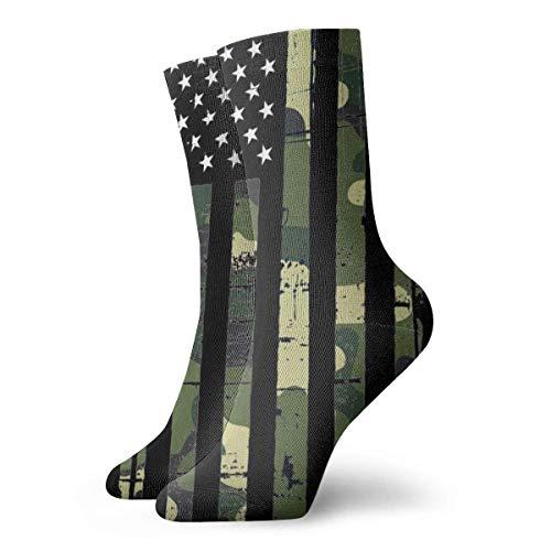 Calcetines unisex divertidos con estampado 3D de la bandera de camuflaje del ejército de Estados Unidos, novedad, 30 cm