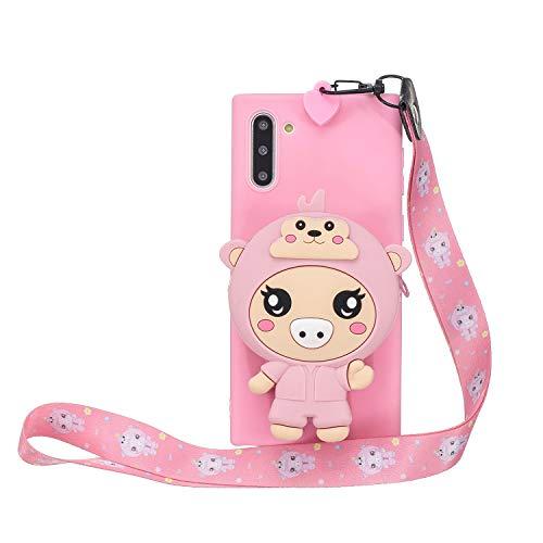 Miagon Silikon Hülle für Samsung Galaxy Note 10,3D Süß Brieftasche Lager Tasche Design mit Halskette Kordel Schnur Handykette Necklace Band,Rosa Schwein