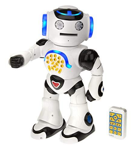 Lexibook ROB50DE ROB50EN Powerman, Intelligenter interaktiver Roboter für Kinder 4-7 zum Lernen und Spielen, Tanzt, musiziert, Lernquiz, erzählt Geschichten, wirft Discs, Weiss/Schwarz, Blau