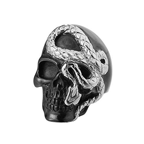 Aienid Ringe Edelstahl Herren Silber Punk Schwarzer Python Schlangenring Ring Herren Size:57 (18.1)