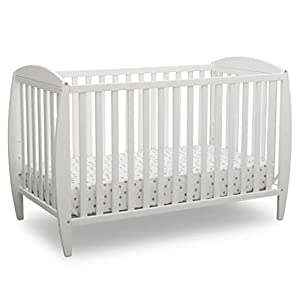 Delta Children Twinkle 4-in-1 Convertible Baby Crib, Easy to Assemble, Sustainable New Zealand Wood, JPMA Certified, White