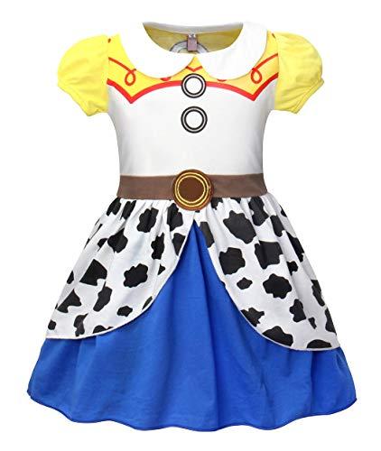 AmzBarley Disfraz Princesa Vestido Jessie Traje Nias Navidad Fiesta Boda Bautizo Baile Falda Nia Costume Cumpleaos Halloween Cosplay Carnaval 3-4 Aos