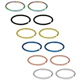 SCERRING 12PCS 22G Stainless Steel Fake Nose Septum Hoop Rings Lip Helix Cartilage Tragus Ear Ring Piercing 6mm - Mix Color