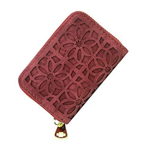 MoGist Temperament Openwork Flower Wallet Donna PU Pelle Zip Clutch 1 pezzi (etro nero), rosso (Rosso) - 17304302621