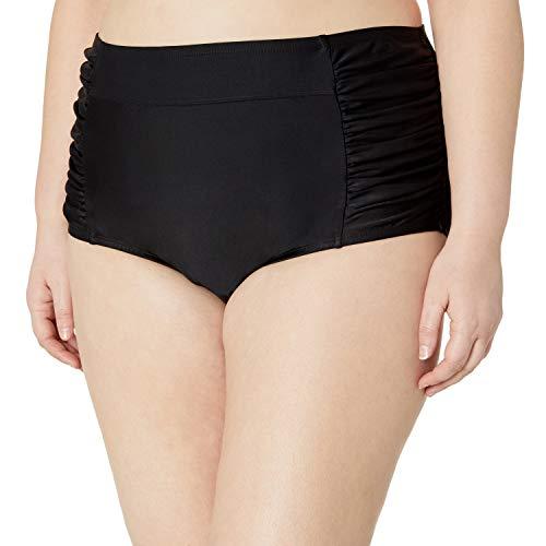 Amazon Brand - Coastal Blue Plus Size Bikini Bottom, Black, 1X (16W-18W)