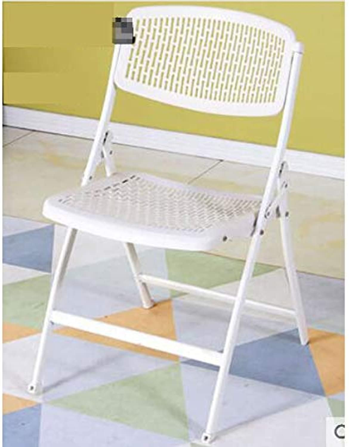 QYSZYG Household Folding Chair, Fashion Chair, Portable shoes Bench, Breathable Computer Desk Stool Stool (color   White)