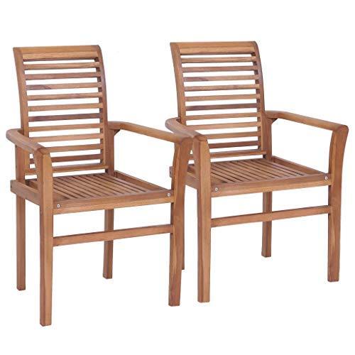 CFG - Juego de 2 sillas apilables de madera para jardín, terraza, comedor, madera maciza de teca 62 x 56,5 x 94 cm