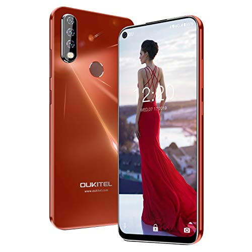 "OUKITEL C17 Pro Unlocked Smartphones 64GB + 4GB RAM Android 9.0 6.35"" FullView Display 13MP+5MP+2MP Triple Cameras Face Fingerprint Recognition Global Dual 4G LTE GSM Unlocked Cell Phone (RED)"