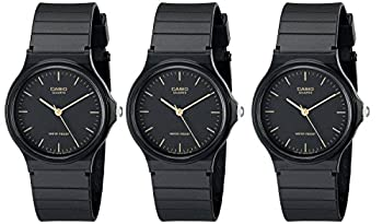 Casio #MQ24-1E Men s Casual Black Resin Strap Analog Watch  Special Package Deal 3 Watches