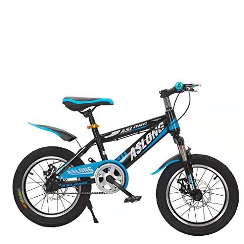 YAOXI 18 Zoll Mountainbike Mit Stoßdämpfung Der Federgabel, Einzelne Geschwindigkeit Rutschfester Griff Fahrrad Scheibenbremsen Vorne Und Hinten Kinderfahrrad,White/Blue